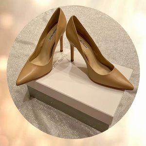 NEW Charles Davis Nude Leather Heels 7.5